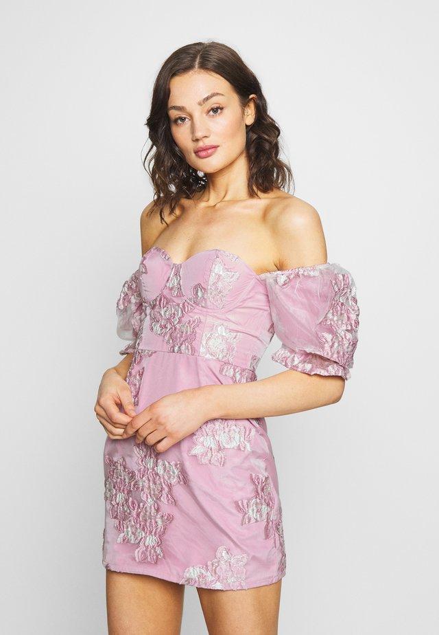 PUFF SLEEVE MINI DRESS - Vestido de cóctel - pink