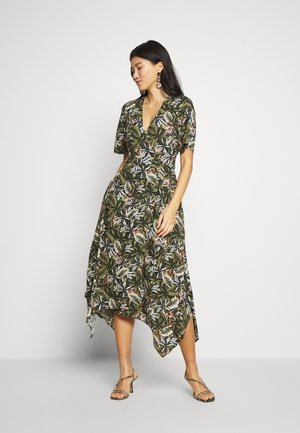 V NECK D RING WRAP MAXI PRINT - Day dress - khaki