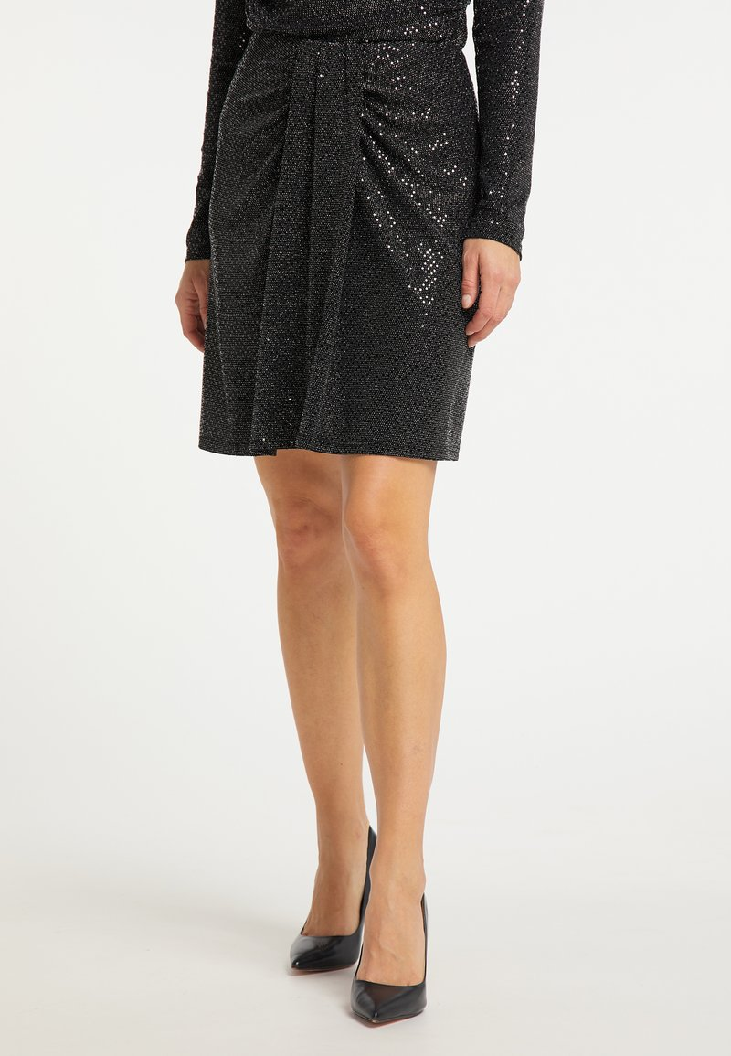 usha - A-line skirt - schwarz silber