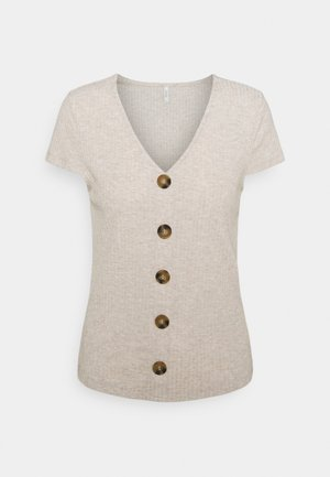 ONLNELLA BUTTON  - T-shirts med print - oatmeal