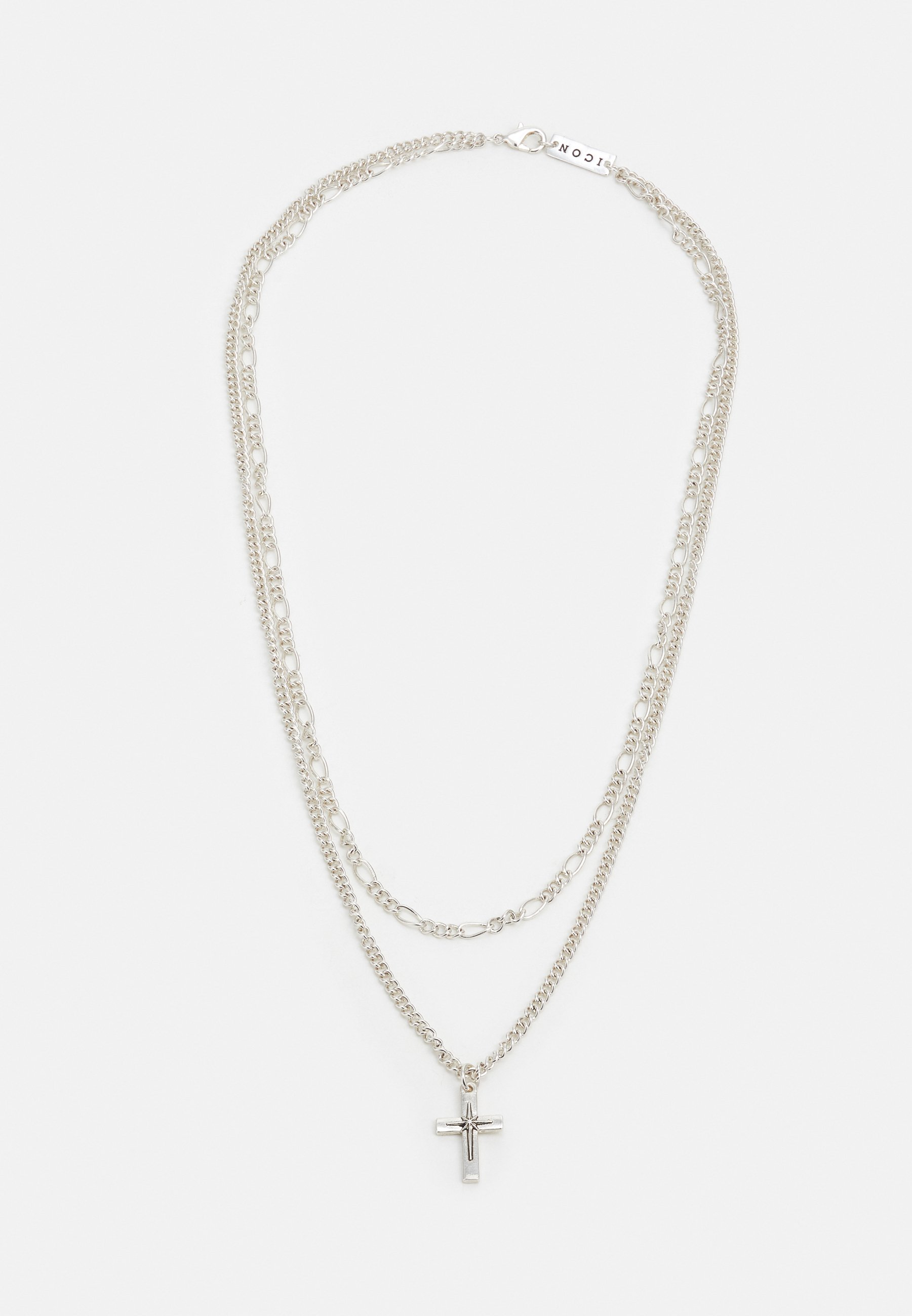 Homme DOUBLE NECKLACE WITH CROSS AND FIGARO - Collier