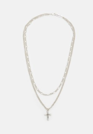 DOUBLE NECKLACE WITH CROSS AND FIGARO - Necklace - silver-coloured
