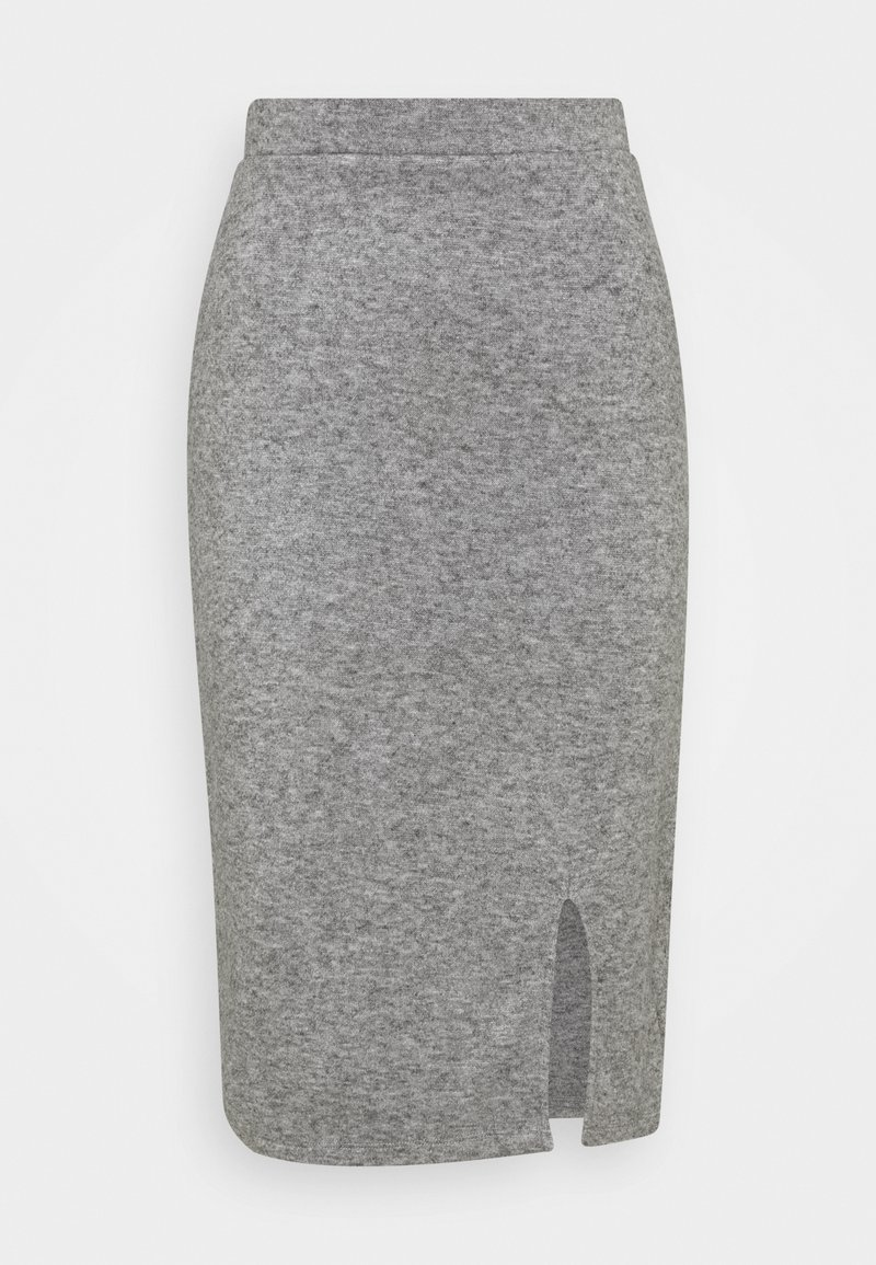 Anna Field - Knit midi skirt with slit - Pencil skirt - mottled grey