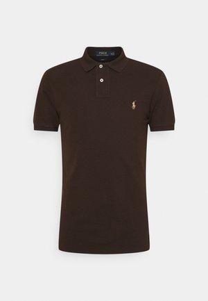 SLIM FIT MESH POLO SHIRT - Polo shirt - circuit brown