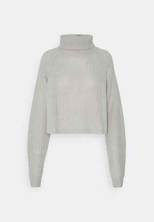 RECYCLED ROLL NECK BATWING CROP JUMPER - Svetr - grey