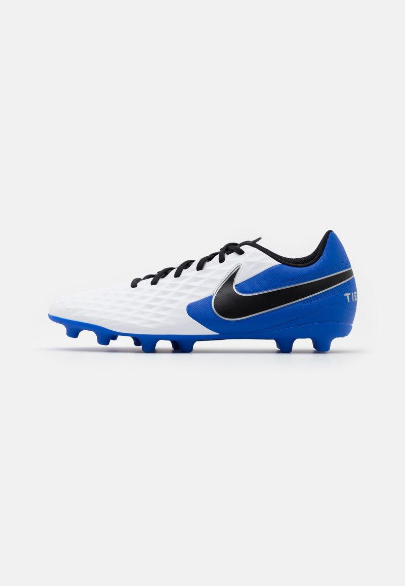 Nike Performance - TIEMPO LEGEND 8 CLUB FG/MG - Moulded stud football boots - white/black/hyper royal/metallic silver