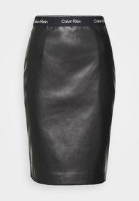 Calvin Klein - MIXED MEDIA PENCIL SKIRT - Pencil skirt - black - 4