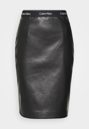 MIXED MEDIA PENCIL SKIRT - Pencil skirt - black