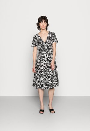 WRAP DRESS - Korte jurk - black/white