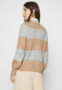 YAS - YASALLU STRIPE CARDIGAN - Cardigan - light grey melange/tawny brown - 2