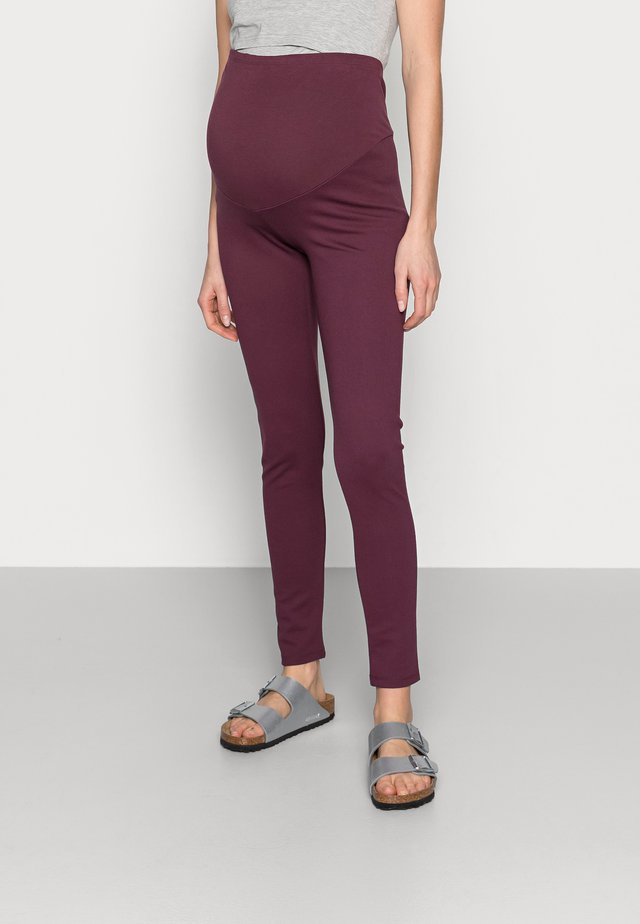 PONTE OVERBUMP - Leggings - berry