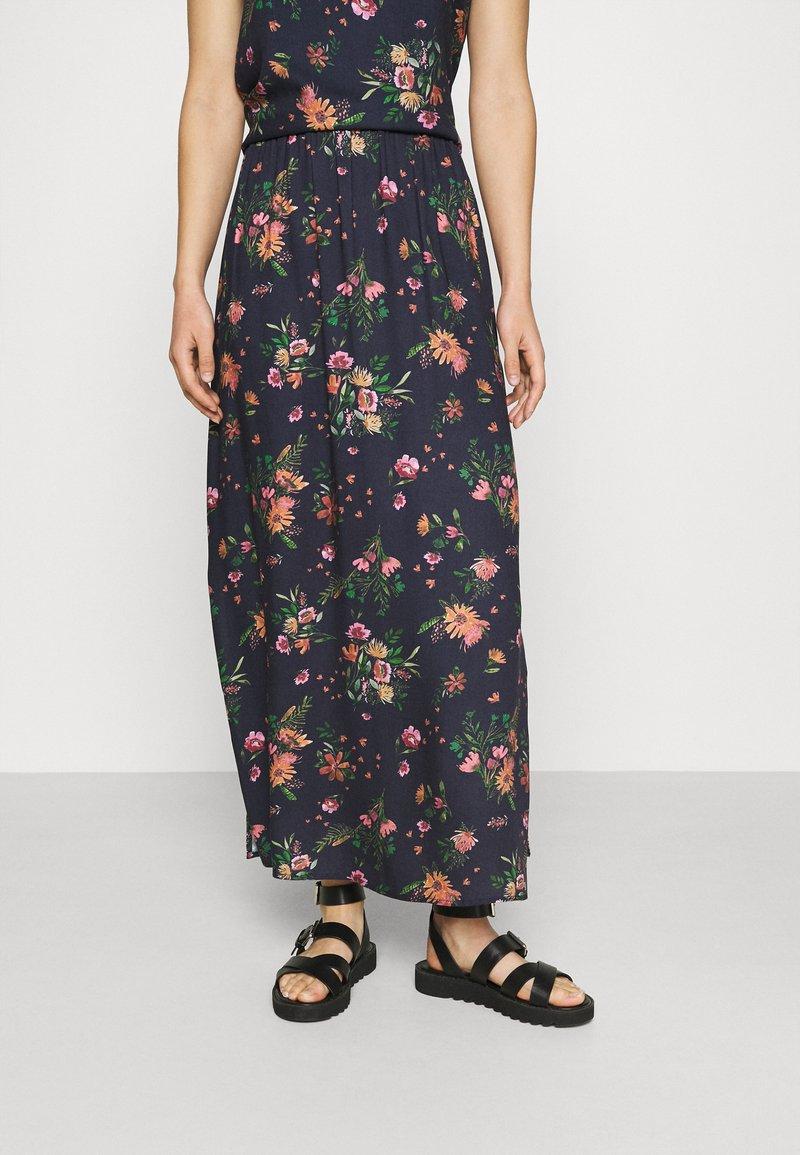 Vila - VIBILLY LONG FLOWER SKIRT - Maxi skirt - navy blazer/red