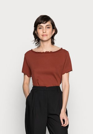 SHORT SLEEVE BOATNECK TOP - Print T-shirt - dark red
