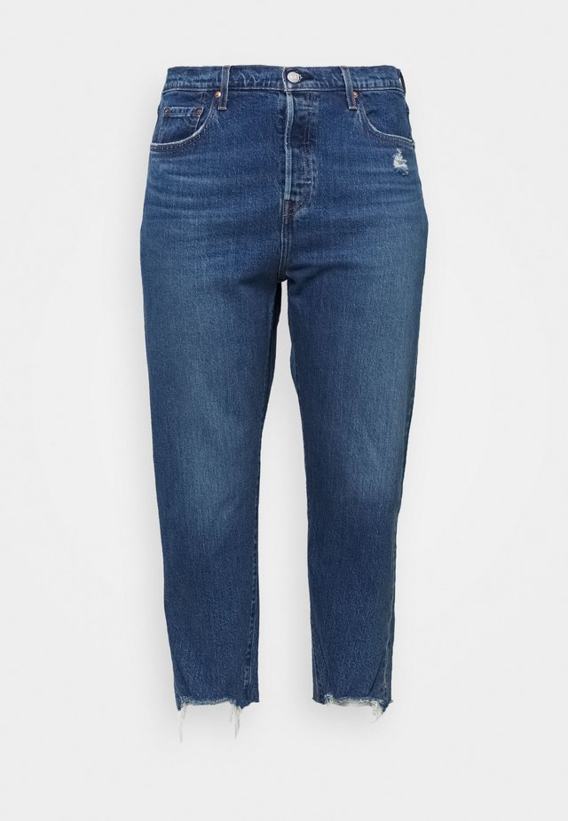 501® CROP - Jean slim - dark blue denim