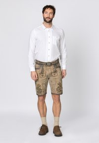 Stockerpoint - WIGGAL - Leather trousers - sand larded/green - 1
