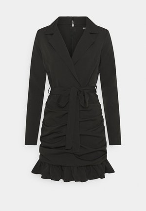 RUCHED FRILL BLAZER DRESS - Cocktail dress / Party dress - black