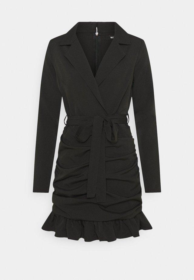 RUCHED FRILL BLAZER DRESS - Cocktail dress / Party dress - black