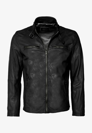 MIT SCHNALLE - Leather jacket - black