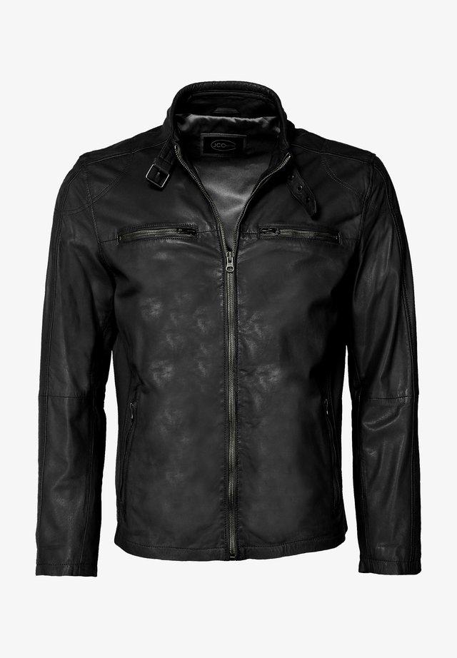 MIT SCHNALLE - Leather jacket - black