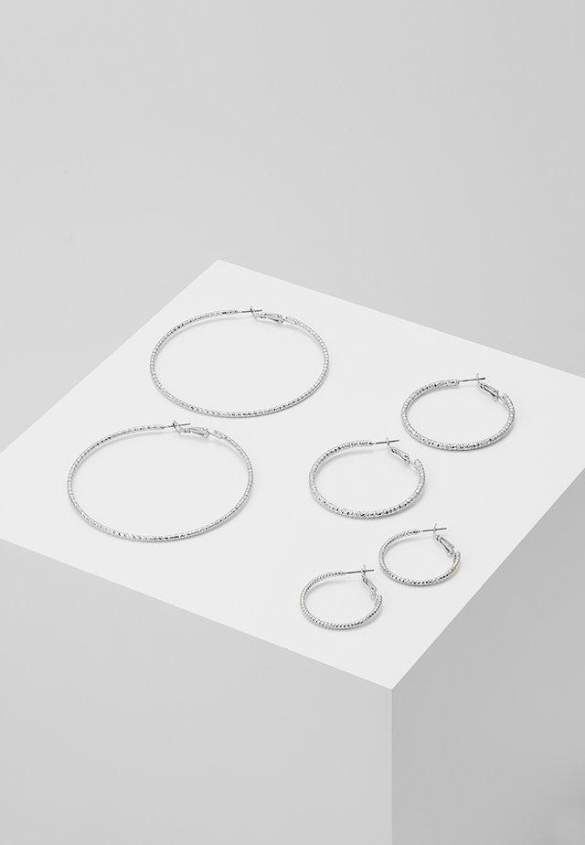 ONLHELLE 3 PACK CREOL EARRINGS - Orecchini - silver-coloured