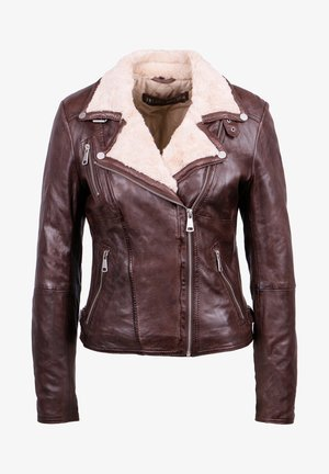PRINCESS - Leather jacket - dark brown/beige