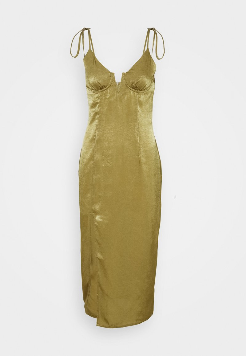 Missguided - TIE STRAP PLUNGE DETAIL MIDI DRESS - Cocktail dress / Party dress - khaki