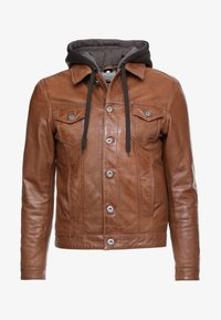 JEAN JACKET HOOD - Leather jacket - cognac