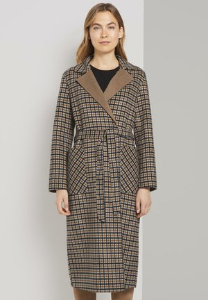 MIT BINDEGÜRTEL - Classic coat - beige brown check design