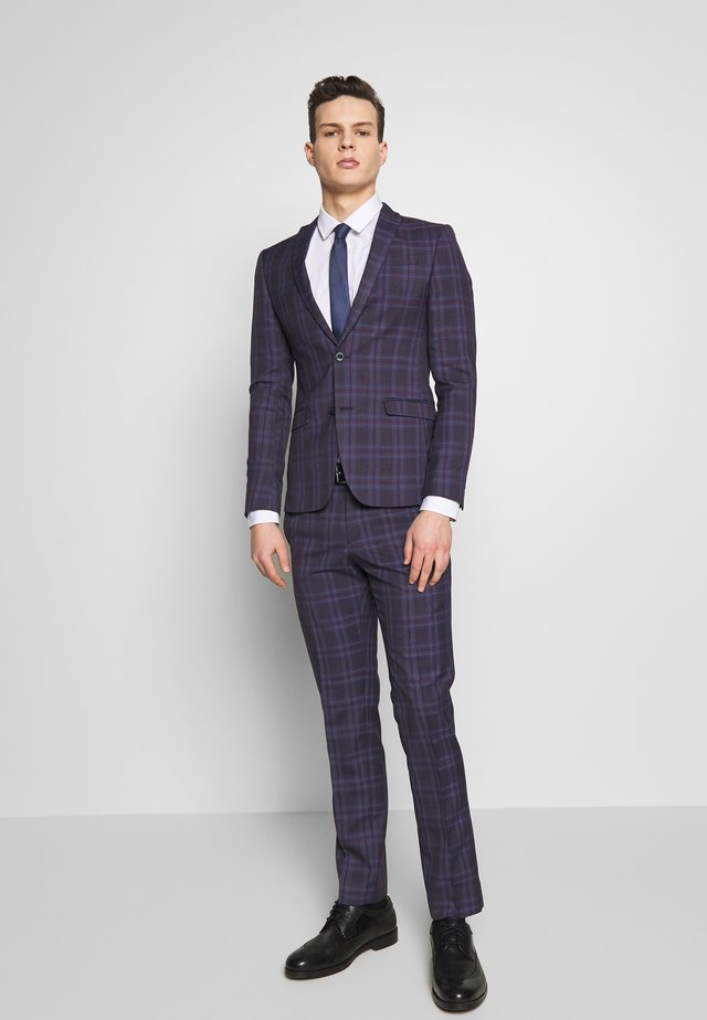 CHECK SUIT SKINNY FIT - Puku - purple