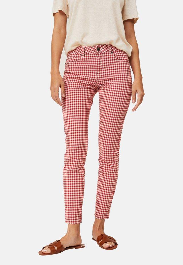 ZOE  - Jean slim - red/white check