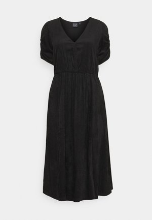 WRAP FRONT MIDI DRESS - Day dress - true black
