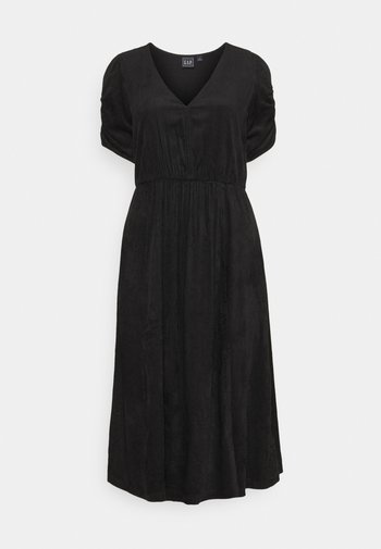 WRAP FRONT MIDI DRESS - Day dress - true black