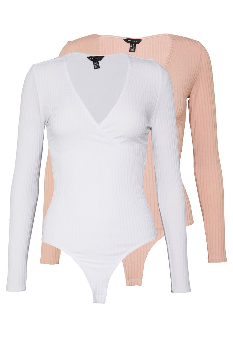 New Look - 2 PACK CARLY LONG SLEEVE WRAP BODY - Long sleeved top - white/light pink