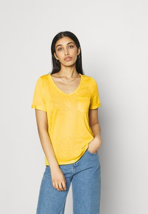 OBJTESSI SLUB V NECK SEASONAL - T-shirt basic - yellow