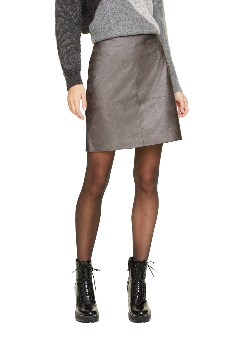 comma casual identity - MIT METALLIC-EFFEKT - A-line skirt - dark grey