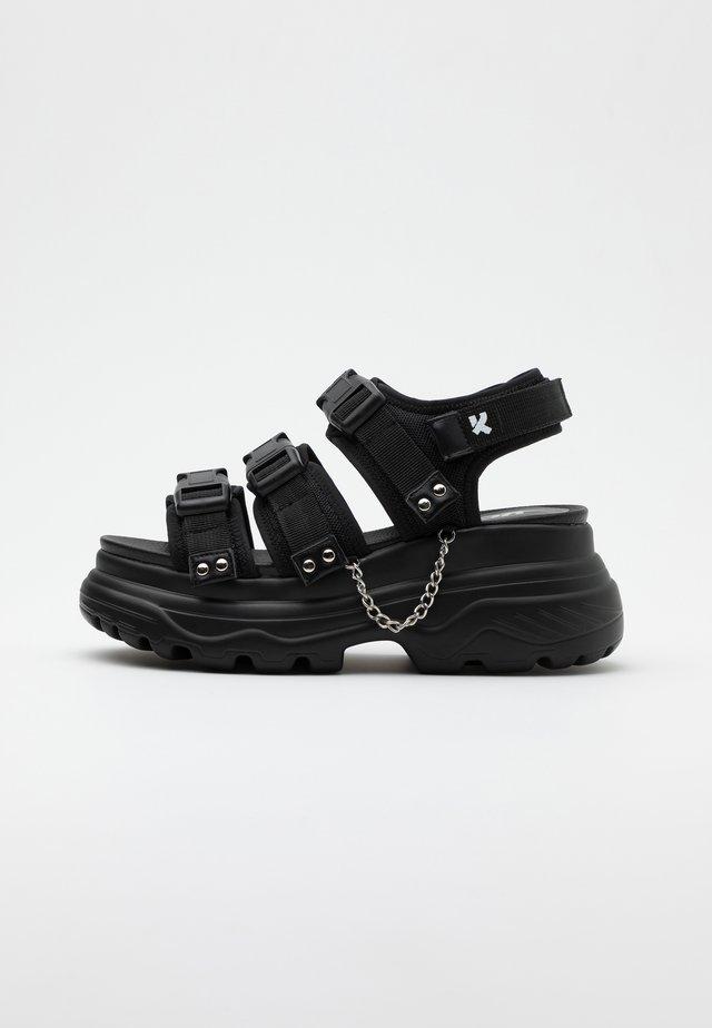 VEGAN SULFUR - Korkeakorkoiset sandaalit - black
