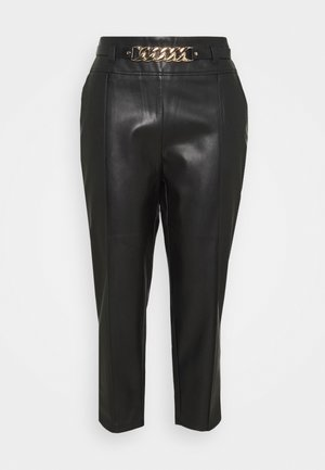 CIGARETTE CHAIN BELT PANT - Trousers - black