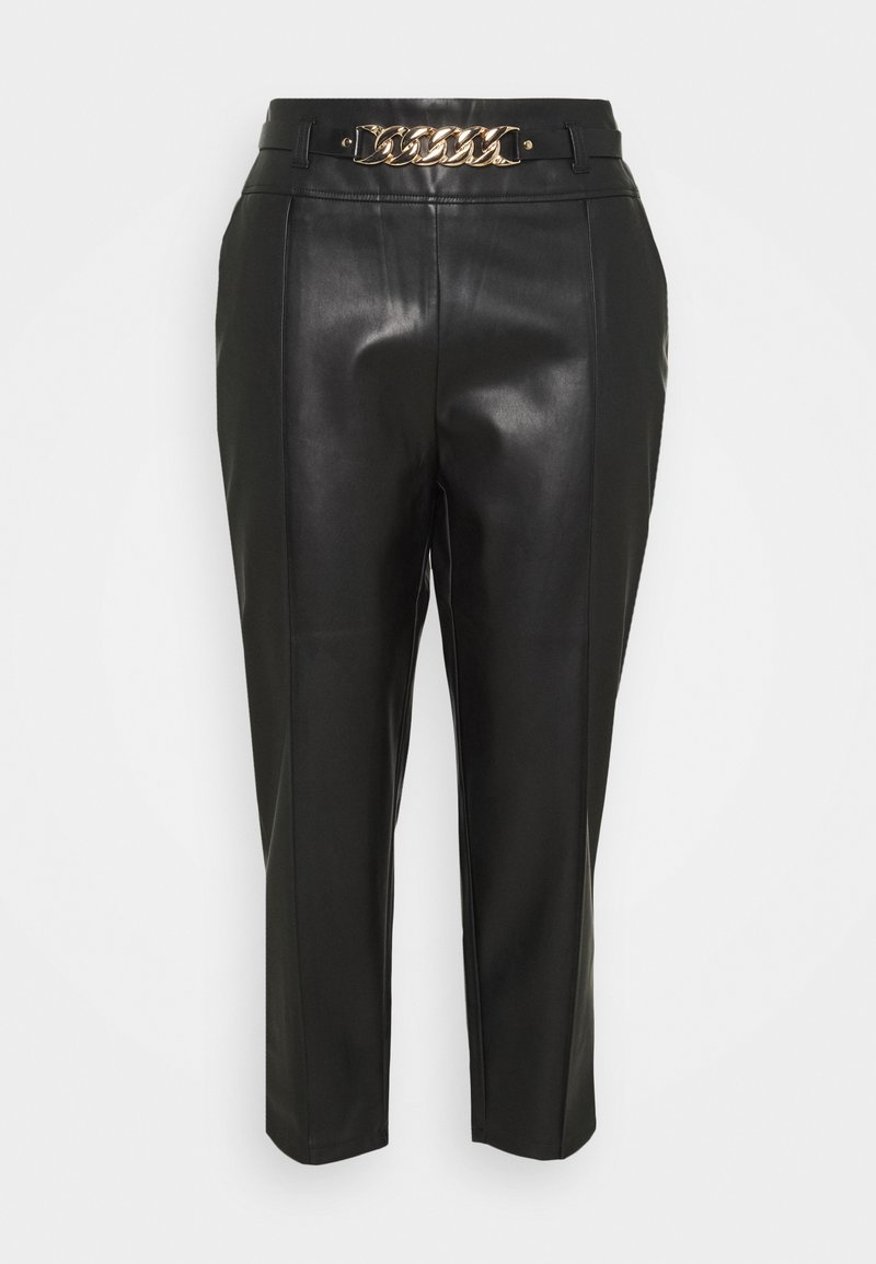 River Island Plus - CIGARETTE CHAIN BELT PANT - Trousers - black
