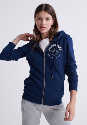 SUPERDRY APPLIQUE SERIF ZIP HOODIE - Zip-up hoodie - richest navy