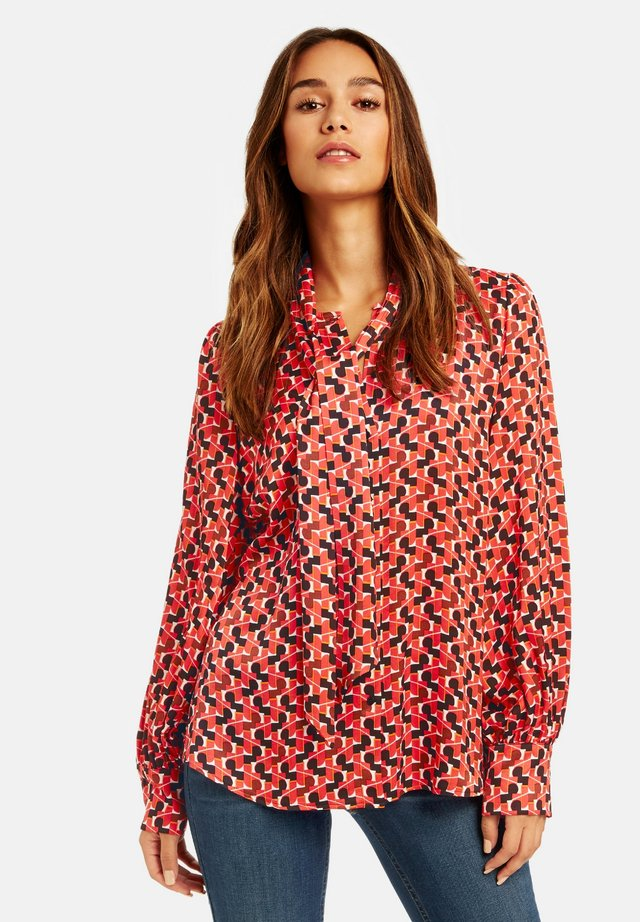 Blouse - carmine red gemustert