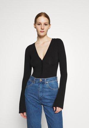DEEP HENLEY BODY - Long sleeved top - black