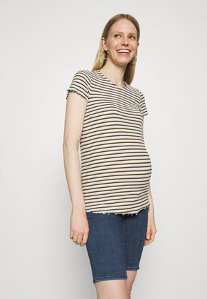OLMEMMA STRIPE - Print T-shirt - cloud dancer/blue/yellow