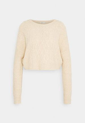 CABLE CROPPED CREW NECK - Jumper - oatmeal marle