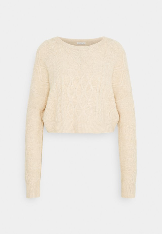 CABLE CROPPED CREW NECK - Neule - oatmeal marle