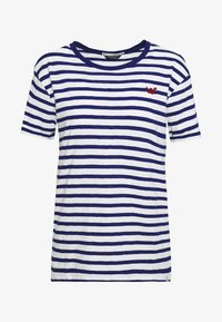 EASY STRIPE TEE WITH CHEST EMBROIDERY - Print T-shirt - white/blue