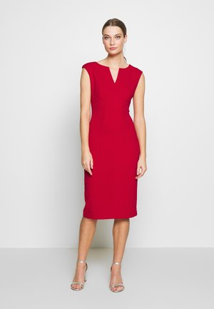 CAP SLEEVE CUTOUT NECK SEAMED SHEATH - Shift dress - scarlet