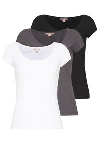 Anna Field Petite - 3 PACK - T-shirts - white/black/dark grey - 0