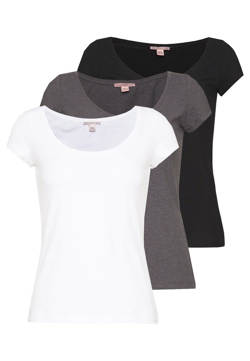 Anna Field Petite - 3 PACK - T-shirts - white/black/dark grey