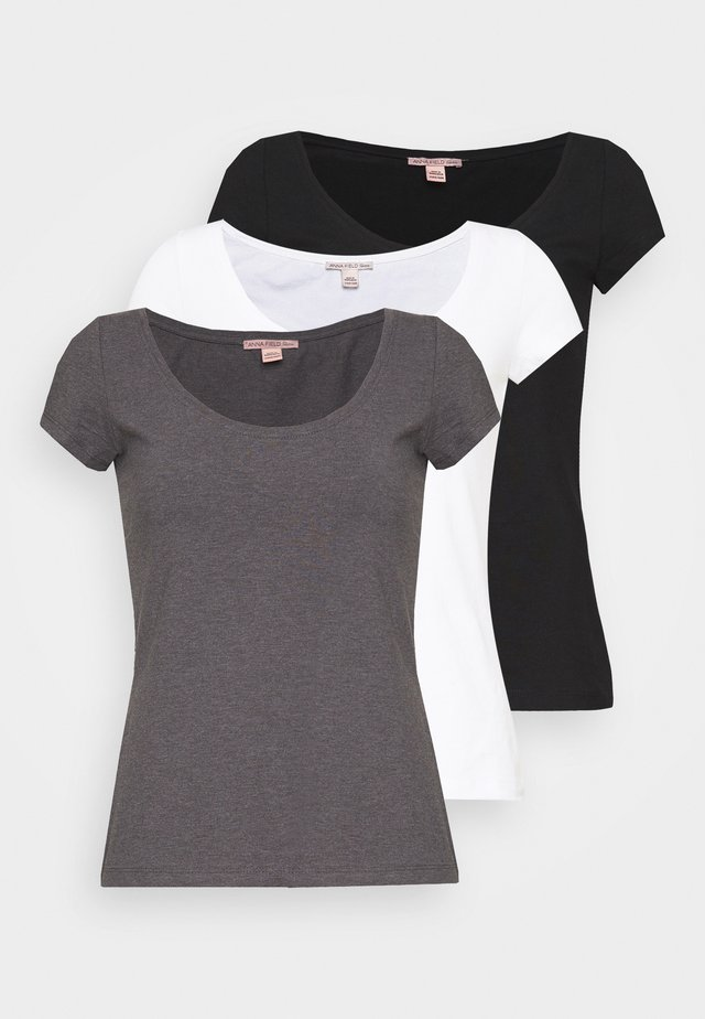 3 PACK - Camiseta básica - white/black/dark grey