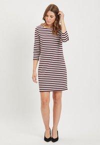 Vila - VITINNY - Day dress - burgundy, white - 1